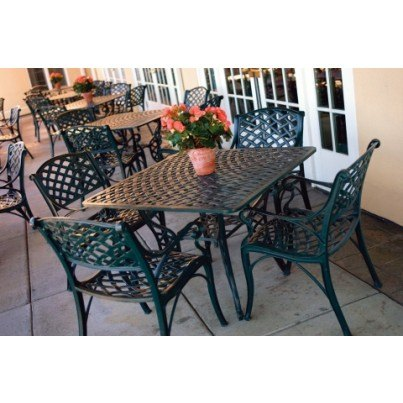 "Three Coins Cast Crossweave Cast Aluminum 38"" Square Patio Table  by Three Coins Cast"