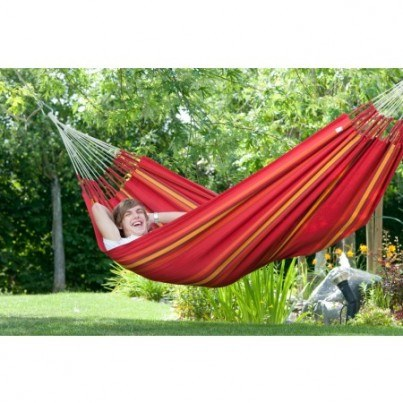 La Siesta Currambera Cotton Double Hammock - Cherry  by La Siesta