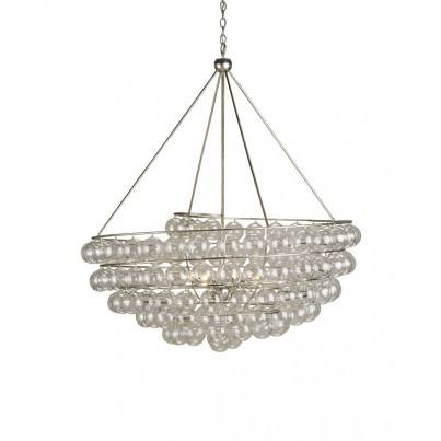 Currey & Company Stratosphere Wrought Iron/Glass Chandelier  by Currey & Company