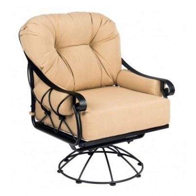 Woodard Derby Wrought Iron Swivel Rocking Lounge Chair  by Woodard