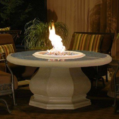 Chat Height Octagon Fire Pit Table with Granite Top  by CGProducts