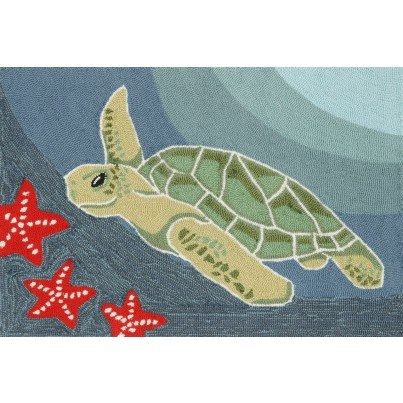 "Trans-Ocean Frontporch Sea Turtle Ocean Rug 20""X30""  by TransOcean"