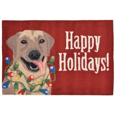 """Trans-Ocean Frontporch Happy Holidays Red Rug 20""""x30""""  by TransOcean"""