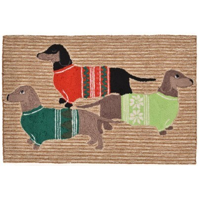 """Trans-Ocean Frontporch Holiday Hounds Neutral Rug 20""""x30""""  by TransOcean"""