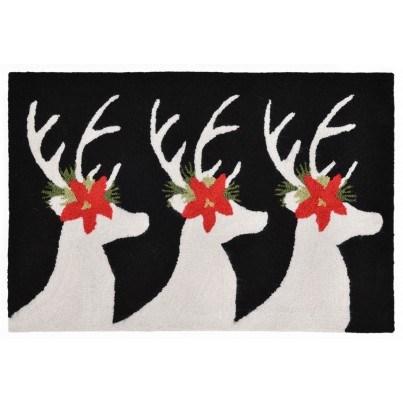 "Trans-Ocean Frontporch Reindeer Black Rug 20""x30""  by TransOcean"