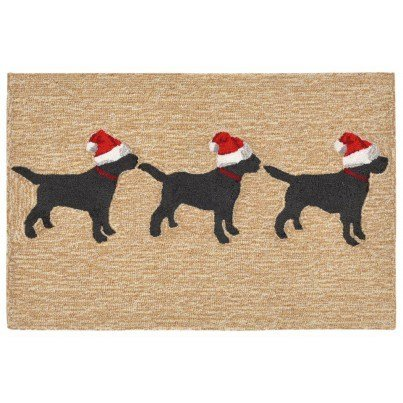 """Trans-Ocean Frontporch 3 Dogs Christmas Neutral Rug 24""""x36""""  by TransOcean"""