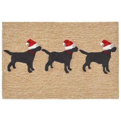 "Trans-Ocean Frontporch 3 Dogs Christmas Neutral Rug 27""x72"" Runner  by TransOcean"