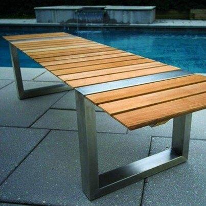 Kingsley Bate Boca Stainless Steel and Teak Backless Bench  by Kingsley Bate