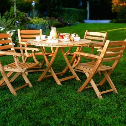 "Kingsley Bate Newport Teak 42"" Folding Dining Table   by Kingsley Bate"