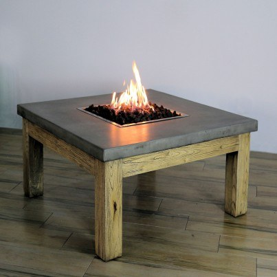Amish Concrete and Wood Fire Table   by Frontera Furniture Company