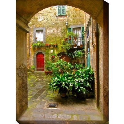 West of the Wind Outdoor Canvas Wall Art - Italian Courtyard  by West of the Wind