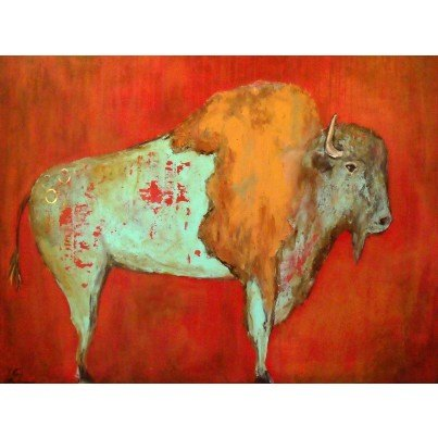 West of the Wind Outdoor Canvas Wall Art - Red Buffalo  by West of the Wind