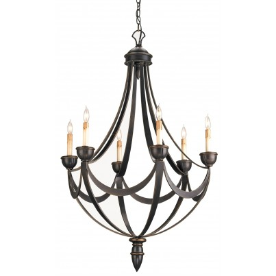 Currey & Company Palomino Iron/Wood Chandelier  by Currey & Company