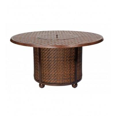 Woodard North Shore Wicker Fire Table Base with Round Thatch Top  by Woodard