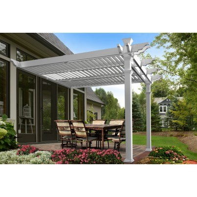 Elysium 12'  Attached Louvered Pergola  by Frontera Furniture Company